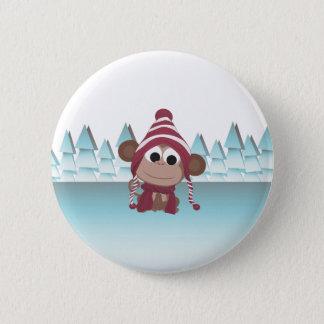 Badge Rond 5 Cm Singe du pays des merveilles d'hiver