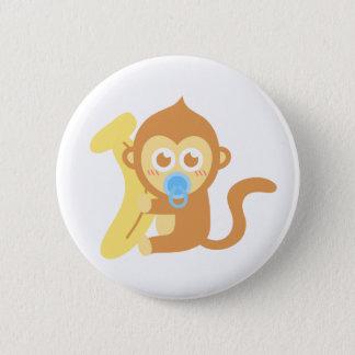 Badge Rond 5 Cm Singe mignon de bébé de bande dessinée avec la