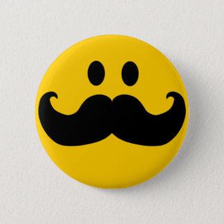 Badge Rond 5 Cm Smiley de moustache