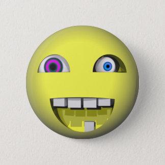 Badge Rond 5 Cm Smiley tordu avec les yeux fous