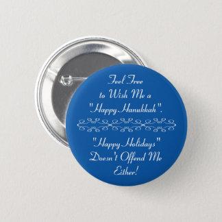 Badge Rond 5 Cm Souhaitez-moi Hanoukka heureux ou bonnes fêtes,