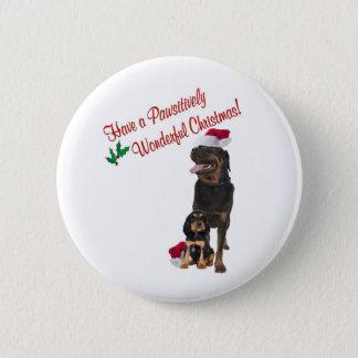 Badge Rond 5 Cm Souhaits de Noël de rottweiler