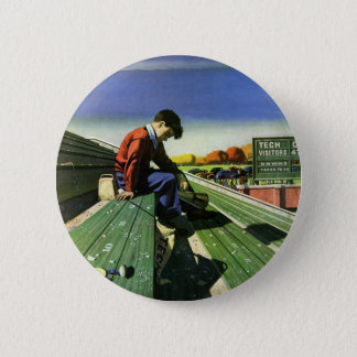 Badge Rond 5 Cm Sports vintages, passioné du football triste avec