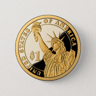 Badge Rond 5 Cm Statue de pièce d'or $1 de la liberté