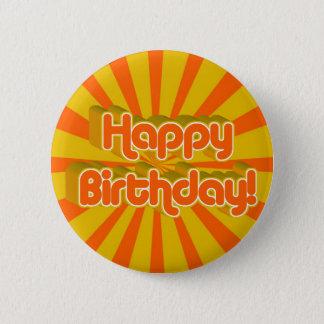 Badge Rond 5 Cm Style de salutation d'anniversaire rétro