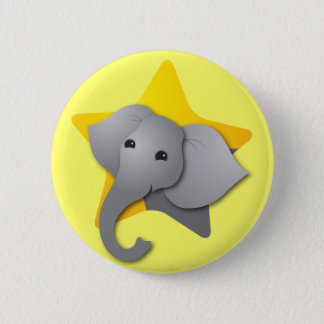 Badge Rond 5 Cm Surprise grise d'éléphant ! étoile