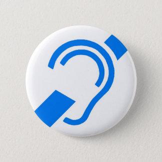 Badge Rond 5 Cm Symbole international pour le sourd