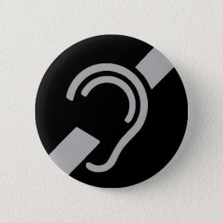 Badge Rond 5 Cm Symbole international pour sourd, argent sur le