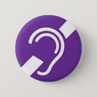 Badge Rond 5 Cm Symbole international pour sourd, blanc sur le