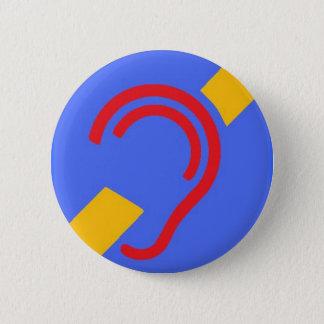 Badge Rond 5 Cm Symbole international pour sourd, rouge, jaune sur