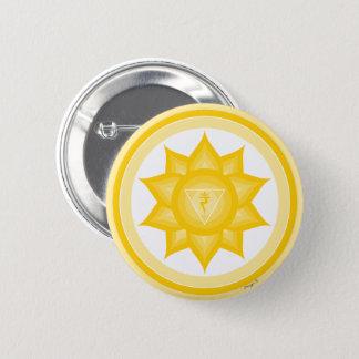 Badge Rond 5 Cm Symbole jaune de méditation de yoga de Chakra de