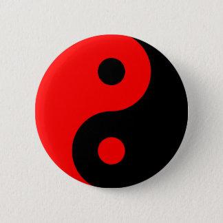 Badge Rond 5 Cm Symbole rouge de Yin Yang