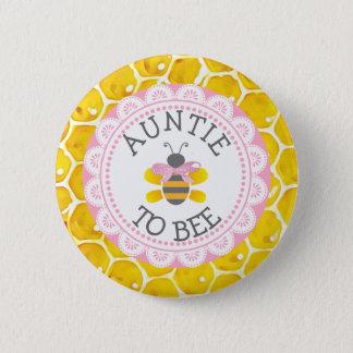 Badge Rond 5 Cm Tante au bouton de baby shower d'abeille