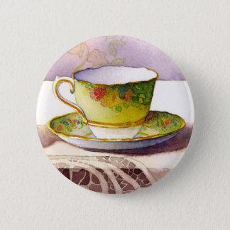 Badge Rond 5 Cm Tasse de thé 0001 sur le bouton de dentelle
