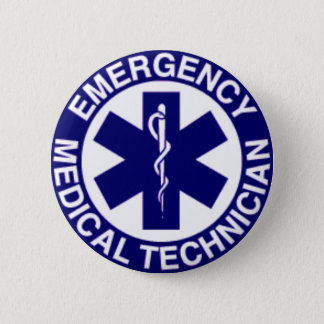 BADGE ROND 5 CM TECHNICIENS MÉDICAUX EMT DE SECOURS