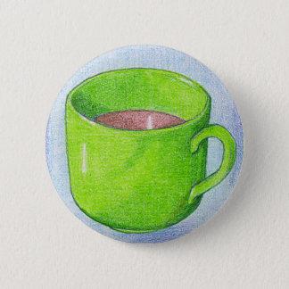 Badge Rond 5 Cm Thé dans le bouton vert