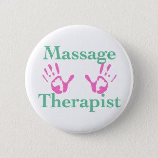 Badge Rond 5 Cm Thérapeute de massage : Copies roses de main