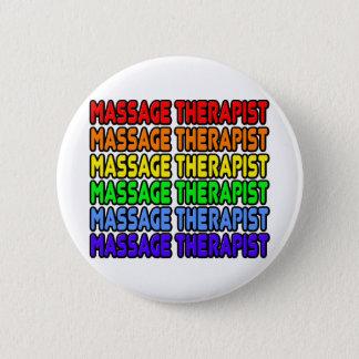 Badge Rond 5 Cm Thérapeute de massage d'arc-en-ciel