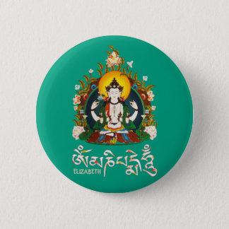 Badge Rond 5 Cm Tibétain de bourdonnement de Bouddha Amitabha OM