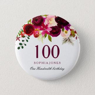 Badge Rond 5 Cm Toute fête d'anniversaire florale de Bourgogne