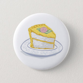 Badge Rond 5 Cm Tranche de gâteau avec le givrage jaune et rose