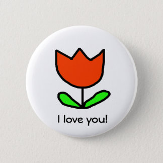 Badge Rond 5 Cm Tulipe rouge