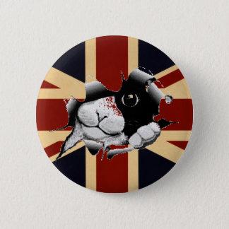 Badge Rond 5 Cm Union Jack drôle les Anglais Kitty