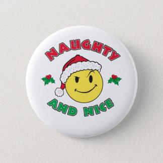 Badge Rond 5 Cm Vilain et Nice - visage heureux