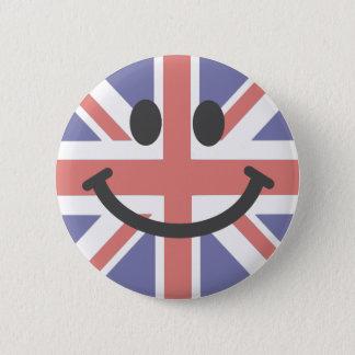 Badge Rond 5 Cm Visage britannique de smiley de drapeau