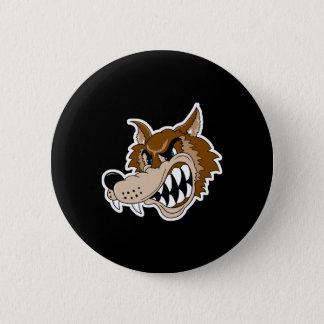 Badge Rond 5 Cm visage brun de loup de grondement