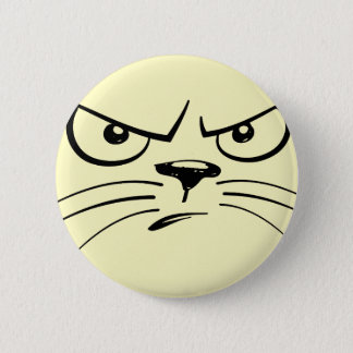 Badge Rond 5 Cm Visage de froncement de sourcils de chat
