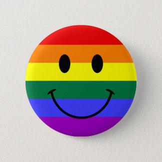 Badge Rond 5 Cm Visage de smiley d'arc-en-ciel