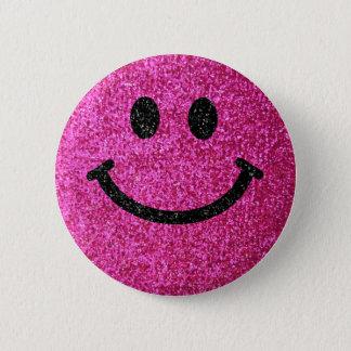 Badge Rond 5 Cm Visage de smiley de parties scintillantes de faux