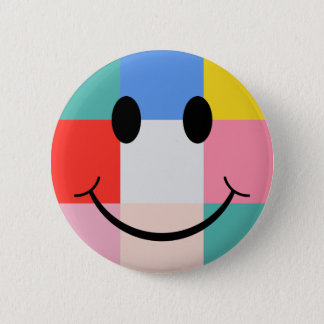 Badge Rond 5 Cm Visage de smiley de style d'art de bruit