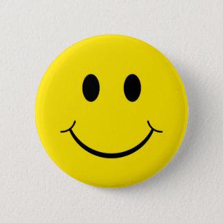 Badge Rond 5 Cm Visage heureux souriant jaune des années 70