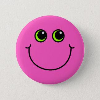 Badge Rond 5 Cm Visage souriant rose