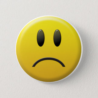 Badge Rond 5 Cm Visage souriant triste