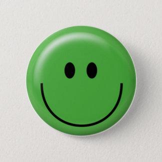 Badge Rond 5 Cm Visage souriant vert heureux