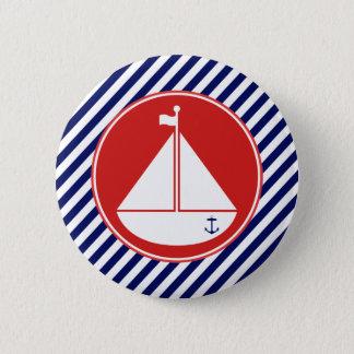 Badge Rond 5 Cm Voilier bleu et rouge
