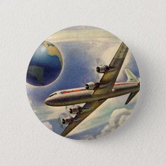Badge Rond 5 Cm Vol vintage d'avion autour du monde en nuages