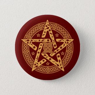 Badge Rond 5 Cm Wiccan Pentgram floral celtique avec des étoiles