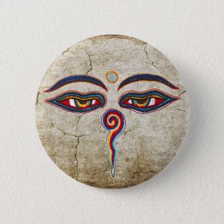 Badge Rond 5 Cm Yeux de der Weisheit de Bouddha/Augen