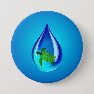 Badge Rond 7,6 Cm Baisse de l'eau et tortue de mer