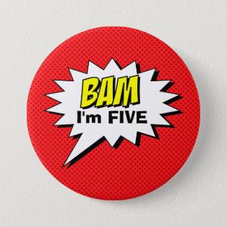 Badge Rond 7,6 Cm Bouton d'anniversaire de super héros - point rouge