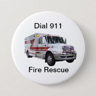 Badge Rond 7,6 Cm Bouton de délivrance du feu