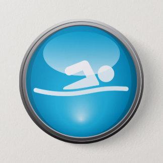 Badge Rond 7,6 Cm Bouton de jour de course de BAIN de triathlon