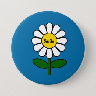 Badge Rond 7,6 Cm Bouton de marguerite de sourire