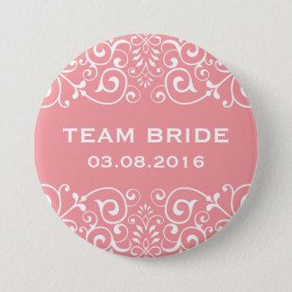 Badge Rond 7,6 Cm Bouton floral victorien rose de jeune mariée
