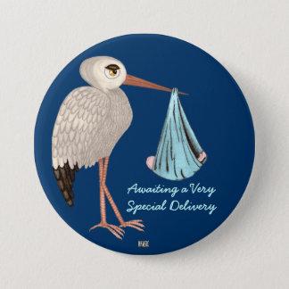 Badge Rond 7,6 Cm Cigogne classique (bleue) (baby shower)