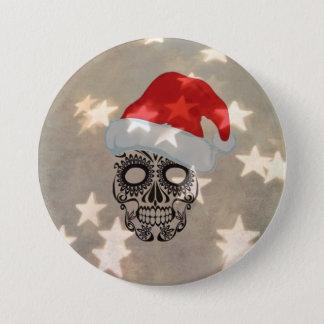 Badge Rond 7,6 Cm Crâne de Noël avec le bokeh d'étoile